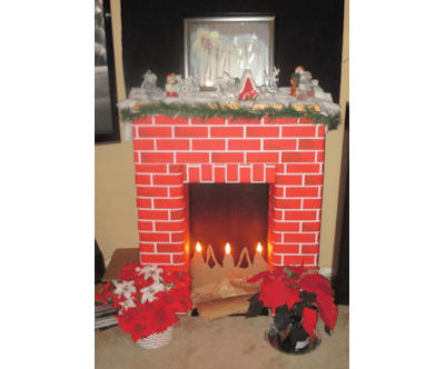 DIY Fake Cardboard Fireplace